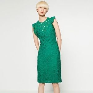 Zara Dresses - Zara Green Lace Dress With Raw Shoulder Frills